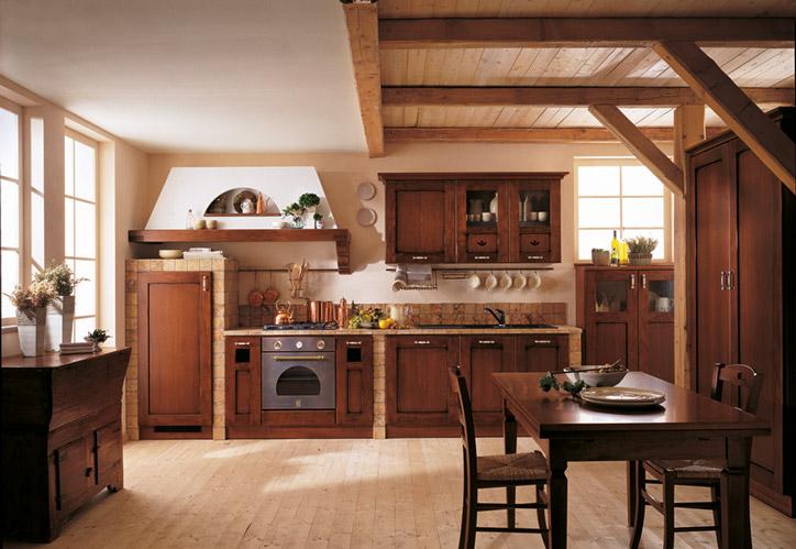 Landhausküche Rosaalba rustikal dunkles Holz Steinfliesen Küchenstudio Cottbus